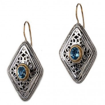 Gerochristo 1395 ~ Solid Gold, Silver & Zircon - Medieval Byzantine Filigree Earrings