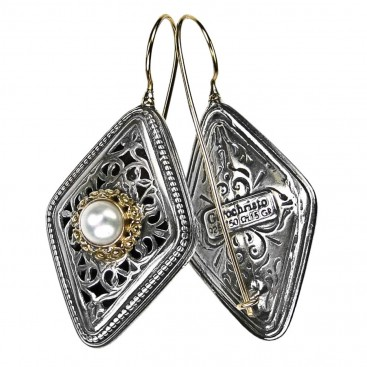 Gerochristo 1397 ~ Solid Gold, Sterling Silver & Pearls - Medieval Byzantine Earrings