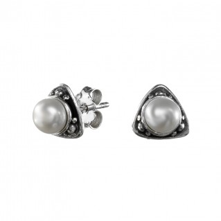 Gerochristo 1400N ~ Sterling Silver & Pearls Medieval Stud Earrings