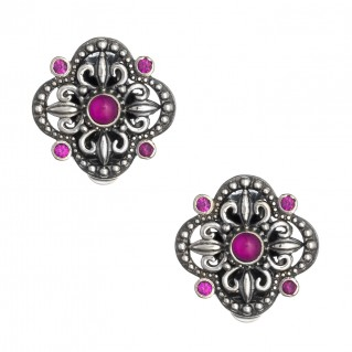 Gerochristo 1401N ~ Sterling Silver & Zircon Medieval Clip Earrings