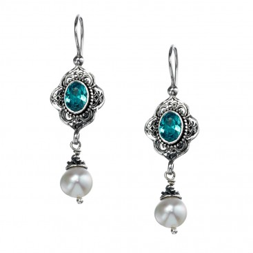 Gerochristo 1404N ~ Sterling Silver & Gemstones - Medieval Drop Earrings