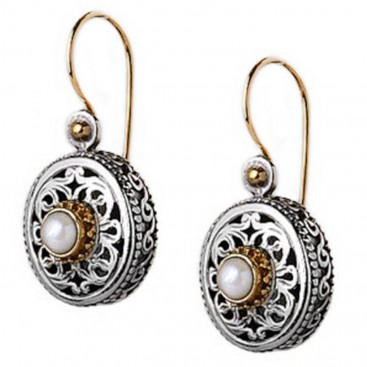Gerochristo 1408 ~ Solid Gold, Silver & Pearls - Medieval Byzantine Filigree Earrings