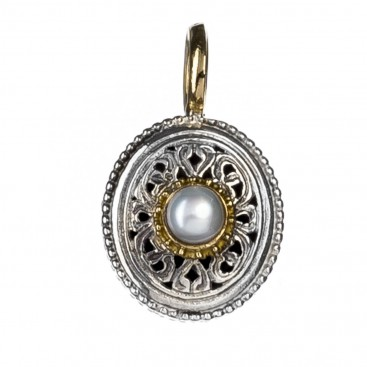 Gerochristo 1408 ~ Solid Gold, Silver & Pearl - Medieval Byzantine Filigree Pendant