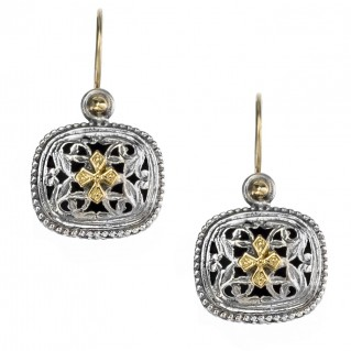 Gerochristo 1410 ~ Solid Gold and Sterling Silver Medieval - Byzantine Earrings
