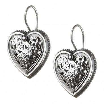 Gerochristo 1411 ~ Sterling Silver Filigree Heart Earrings