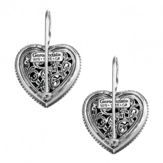 Gerochristo 1411 ~ Sterling Silver Filigree Heart Earrings