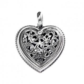 Gerochristo 1411 ~ Sterling Silver Filigree Heart Pendant