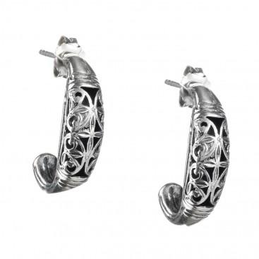 Gerochristo 1412 ~ Medieval Byzantine Filigree Half Hoop Earrings - Sterling Silver