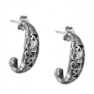 Gerochristo 1412 ~ Medieval Byzantine Filigree Half Hoop Earrings - Sterling Silver