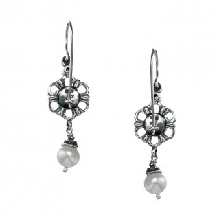 Gerochristo 1414N ~ Sterling Silver & Pearls Flower Dangle Earrings