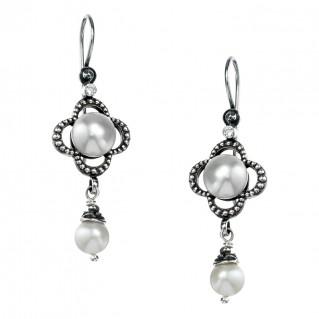 Gerochristo 1418N ~ Sterling Silver & Pearls Medieval-Byzantine Drop Earrings