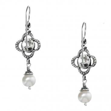Gerochristo 1418N ~ Sterling Silver & Pearls Medieval-Byzantine Drop Earrings