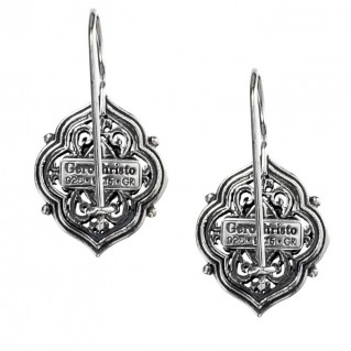 Gerochristo 1434 ~ Sterling Silver and Garnet Medieval - Byzantine Earrings