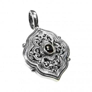 Gerochristo 1434 ~ Sterling Silver with Garnet Medieval-Byzantine Pendant