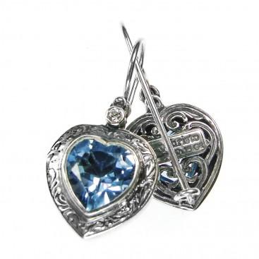 Gerochristo 1440 ~ Sterling Silver & Zircon Heart Earrings