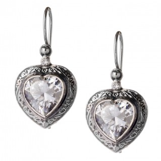 Gerochristo 1440 ~ Sterling Silver & Zircon Heart Earrings