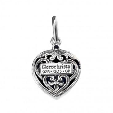 Gerochristo 1440 ~ Sterling Silver & Zircon Heart Pendant