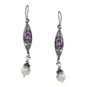 Gerochristo 1441N ~ Sterling Silver & Gemstones - Medieval Dangle Earrings