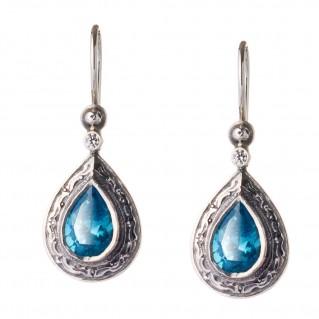 Gerochristo 1441 ~ Sterling Silver & Zircon Drop Earrings