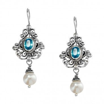 Gerochristo 1469N ~ Sterling Silver & Gemstones - Medieval Drop Earrings