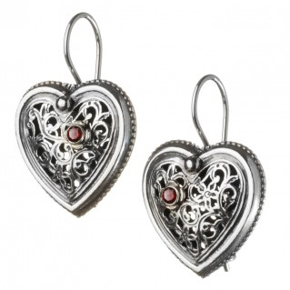 Gerochristo 1485 ~ Sterling Silver Filigree Heart Earrings with Garnet