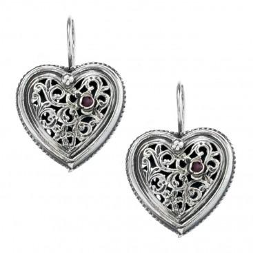 Gerochristo 1485 ~ Sterling Silver Filigree Heart Earrings with Garnet