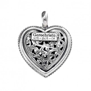 Gerochristo 1485 ~ Sterling Silver with Garnet Filigree Heart Pendant