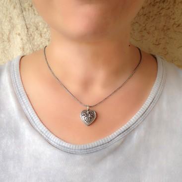 Gerochristo 1485 ~ Sterling Silver with Garnet Filigree Heart Pendant