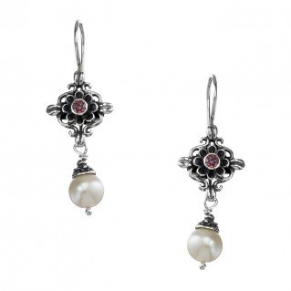 Gerochristo 1495N ~ Sterling Silver & Gemstones - Medieval Drop Earrings