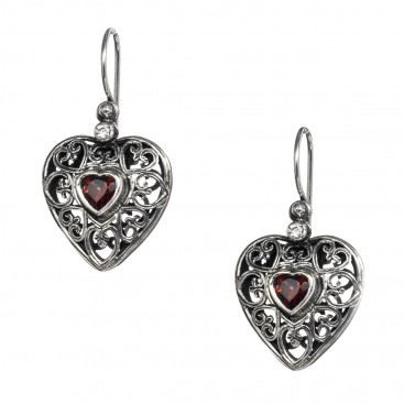 Gerochristo 1567N ~ Sterling Silver & Zircon Stones - Filigree Heart Earrings