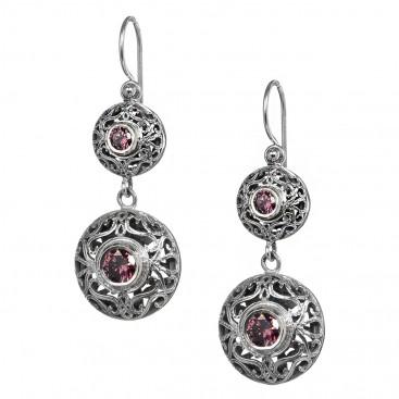 Gerochristo 1569N ~ Sterling Silver & Zircon - Medieval-Byzantine Dangle Earrings