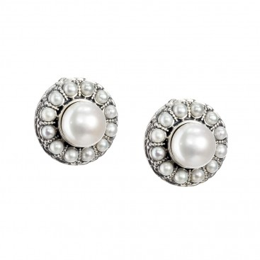 Gerochristo 1577N ~ Sterling Silver Byzantine Clip Earrings with Pearls