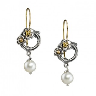 Gerochristo 1651N ~ Solid Gold & Sterling Silver Flower Drop Earrings