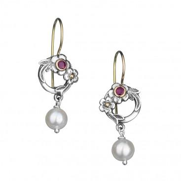 Gerochristo 1652N ~ Solid Gold, Silver & Stones Flower Drop Earrings