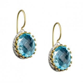 Gerochristo 1654N ~ Solid Gold & Sterling Silver - Medieval Drop Earrings