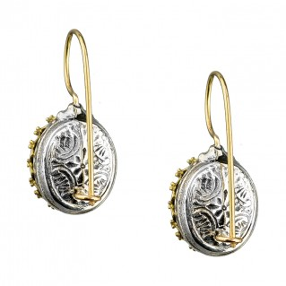 Gerochristo 1654N ~ Solid Gold & Sterling Silver - Medieval Drop Earrings