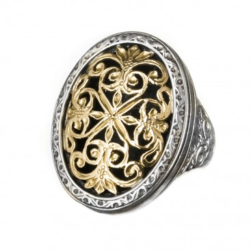 Gerochristo 2081N ~ Solid Gold & Silver Medieval Byzantine Large Ring