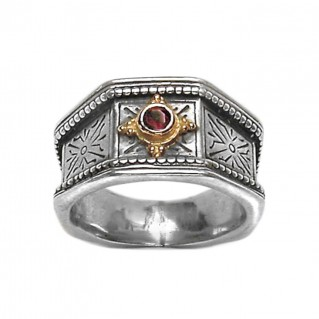 Gerochristo 2127 ~ Solid Gold & Silver Medieval-Byzantine Single Stone Band Ring