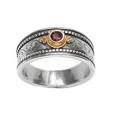 Gerochristo 2128 ~ Solid Gold & Sterling Silver Medieval-Byzantine Ruby Ring