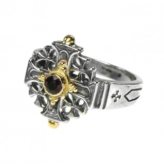 Gerochristo 2169 ~ Solid Gold, Silver & Stone - Medieval-Byzantine Cross Ring