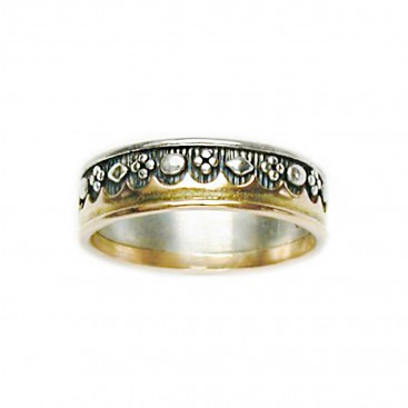 Gerochristo 2181 ~ Solid Gold & Silver - Medieval-Byzantine Band Ring