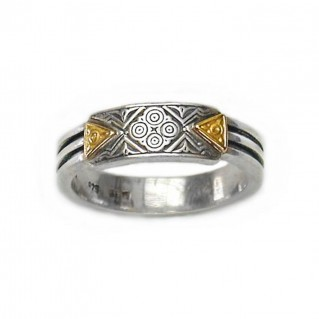 Gerochristo 2187 ~ Solid Gold & Silver - Medieval-Byzantine Ring