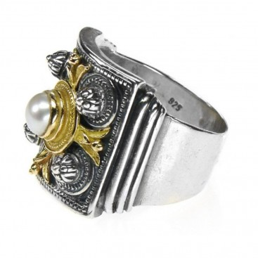 Gerochristo 2196 ~ Solid Gold, Silver & Stones Medieval Byzantine Ring