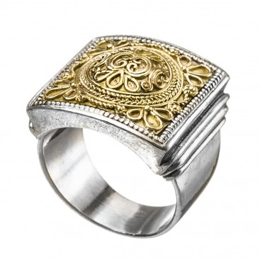 Gerochristo 2197 ~ Solid Gold & Sterling Silver Medieval Byzantine Ring