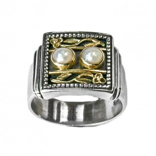 Gerochristo 2198 ~ Solid Gold & Sterling Silver Medieval-Byzantine Cocktail Ring