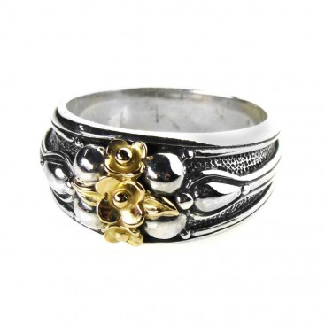 Gerochristo 2199 ~ Solid Gold & Sterling Silver Medieval-Byzantine Floral Band Ring
