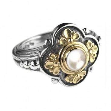 Gerochristo 2205 ~ Solid Gold & Sterling Silver with Gemstones - Medieval-Byzantine Ring