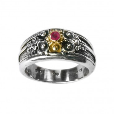 Gerochristo 2206 ~ Solid Gold & Sterling Silver Medieval-Byzantine Ruby Band Ring