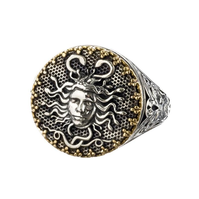 bae952604d Gerochristo 2206N ~ Solid Gold & Sterling Silver Medusa Signet Ring