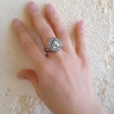Gerochristo 2206N ~ Solid Gold & Sterling Silver Medusa Signet Ring